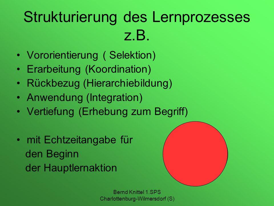 Strukturierung des Lernprozesses z.B.