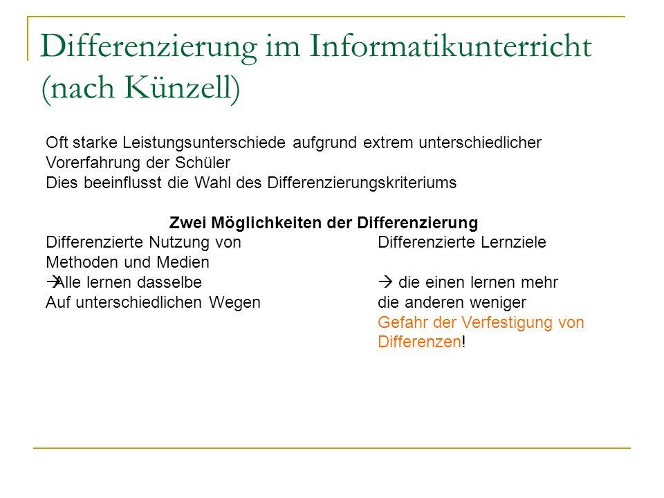 Differenzierung im Informatikunterricht (nach Künzell)