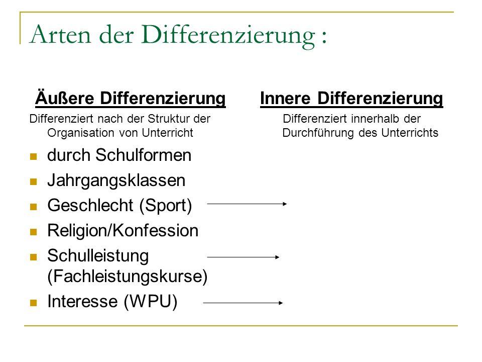 Arten der Differenzierung :