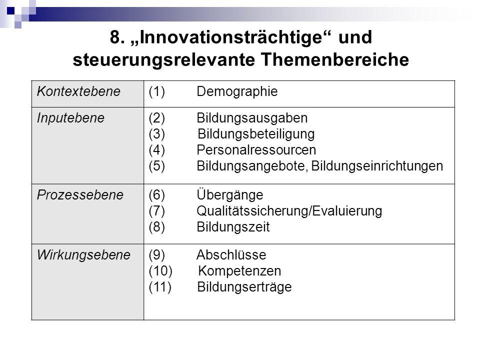 """8. """"Innovationsträchtige und steuerungsrelevante Themenbereiche"""