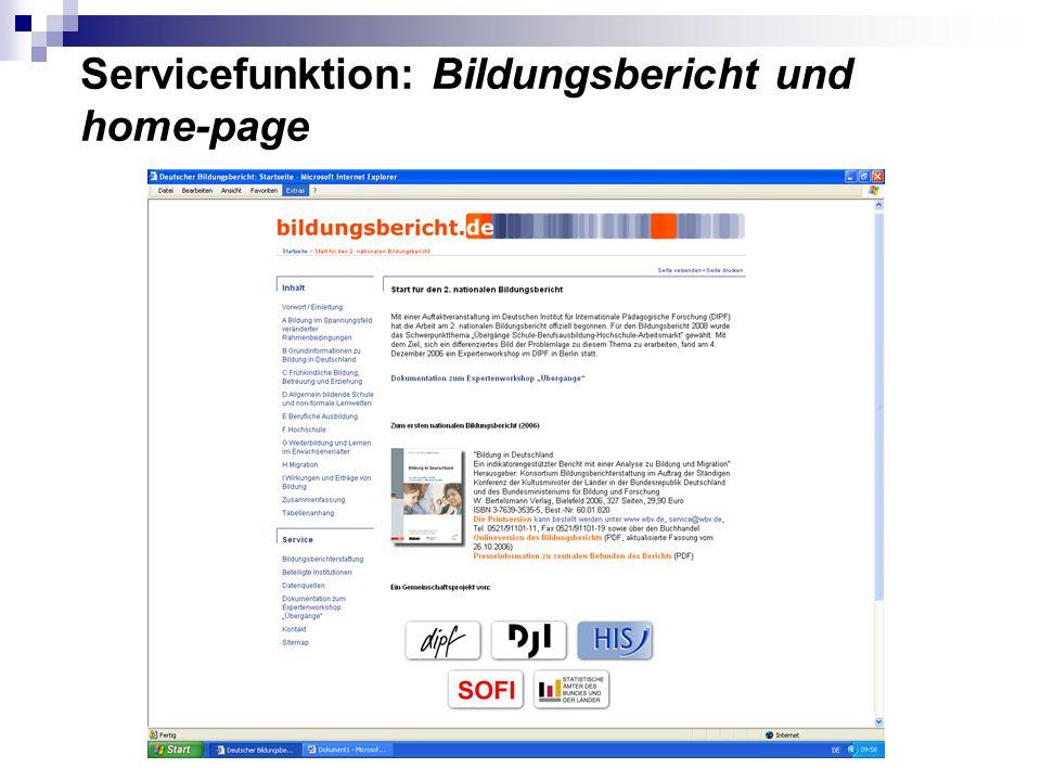 Servicefunktion: Bildungsbericht und home-page