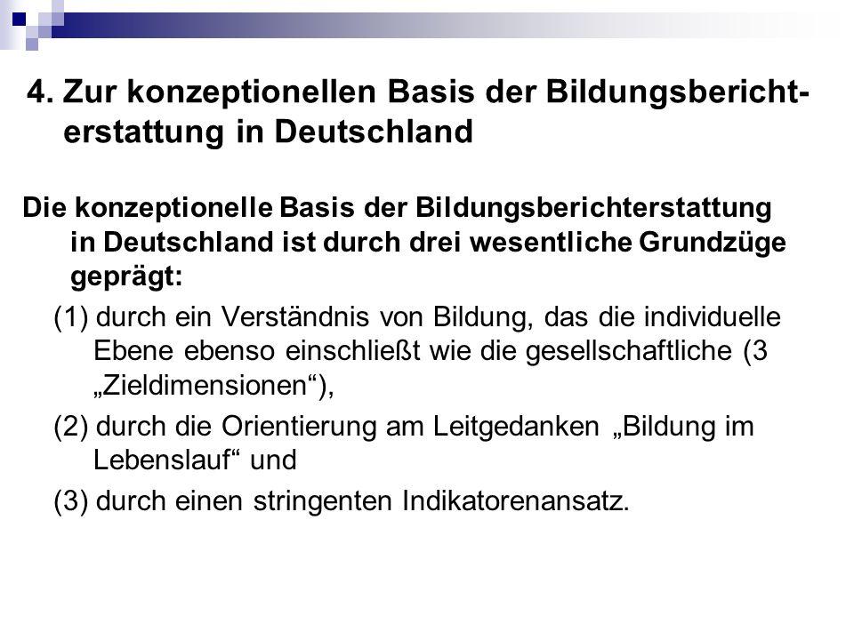 4. Zur konzeptionellen Basis der Bildungsbericht- erstattung in Deutschland