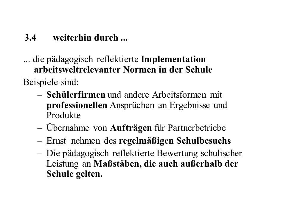 3.4 weiterhin durch ... ... die pädagogisch reflektierte Implementation arbeitsweltrelevanter Normen in der Schule.