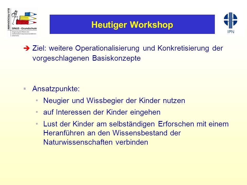 Heutiger Workshop Ziel: weitere Operationalisierung und Konkretisierung der vorgeschlagenen Basiskonzepte.