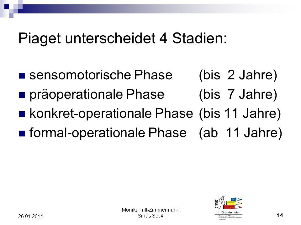 Piaget unterscheidet 4 Stadien: