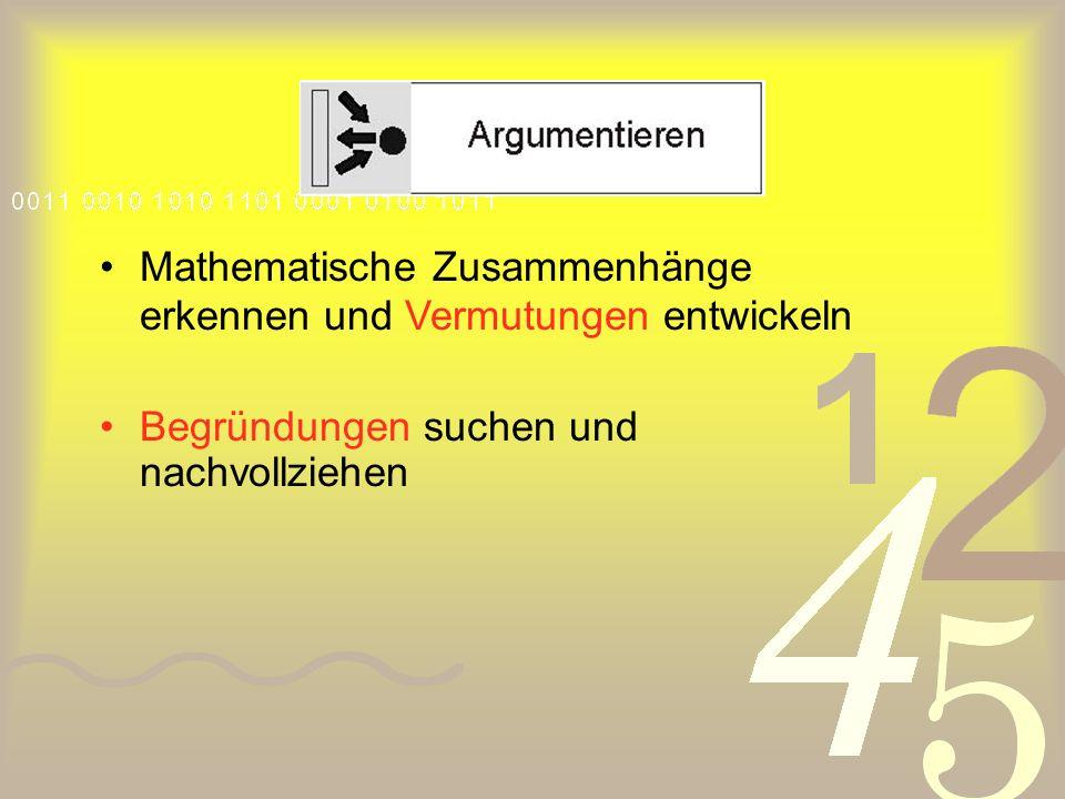 Mathematische Zusammenhänge erkennen und Vermutungen entwickeln