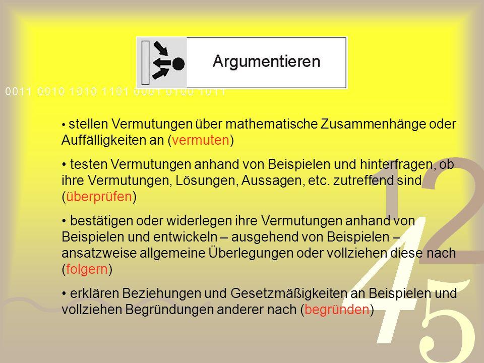 • stellen Vermutungen über mathematische Zusammenhänge oder Auffälligkeiten an (vermuten)
