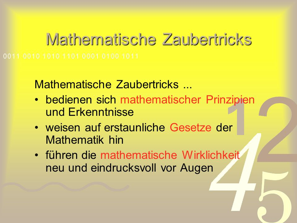 Mathematische Zaubertricks