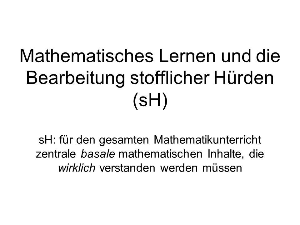 Mathematisches Lernen und die Bearbeitung stofflicher Hürden (sH) sH: für den gesamten Mathematikunterricht zentrale basale mathematischen Inhalte, die wirklich verstanden werden müssen