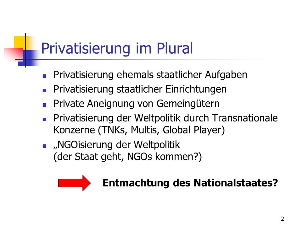 Privatisierung im Plural