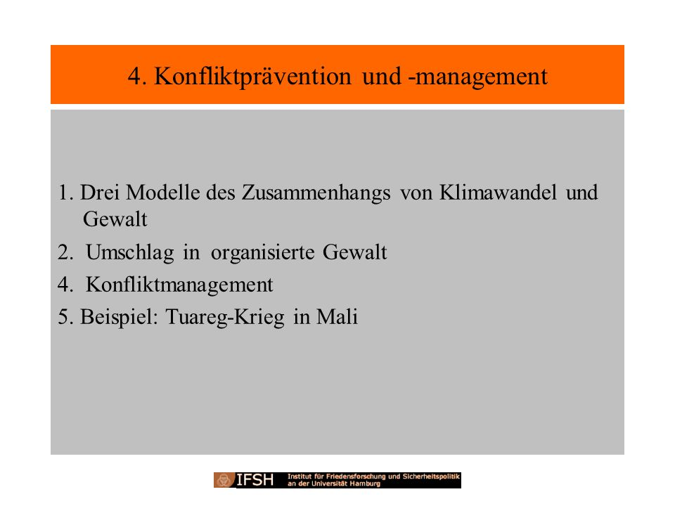 4. Konfliktprävention und -management
