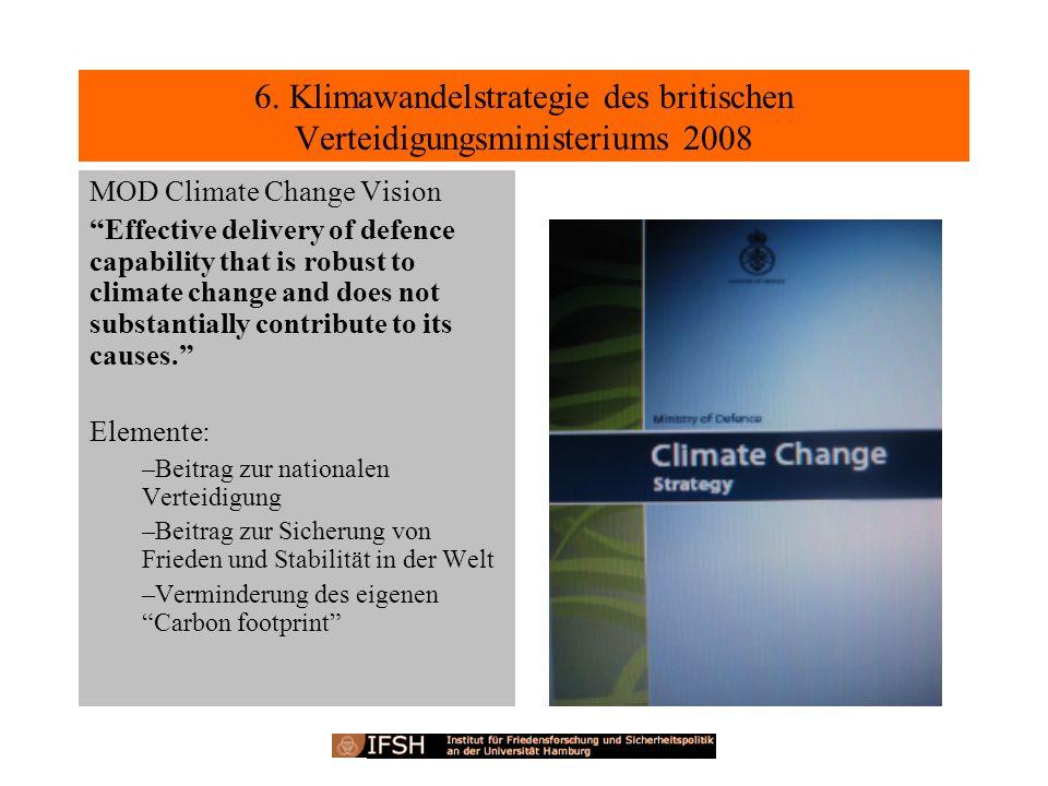 6. Klimawandelstrategie des britischen Verteidigungsministeriums 2008