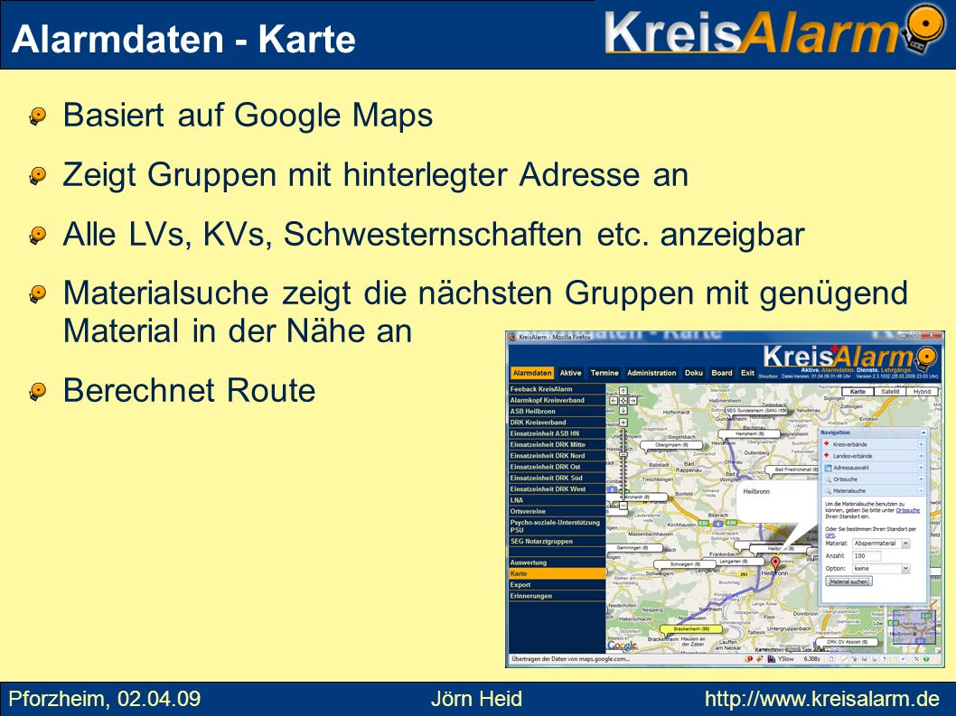 Alarmdaten - Karte Basiert auf Google Maps