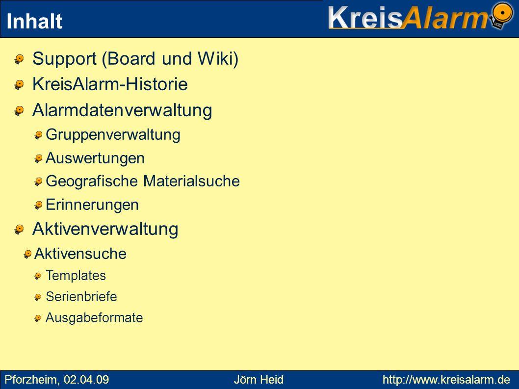 Inhalt Support (Board und Wiki) KreisAlarm-Historie