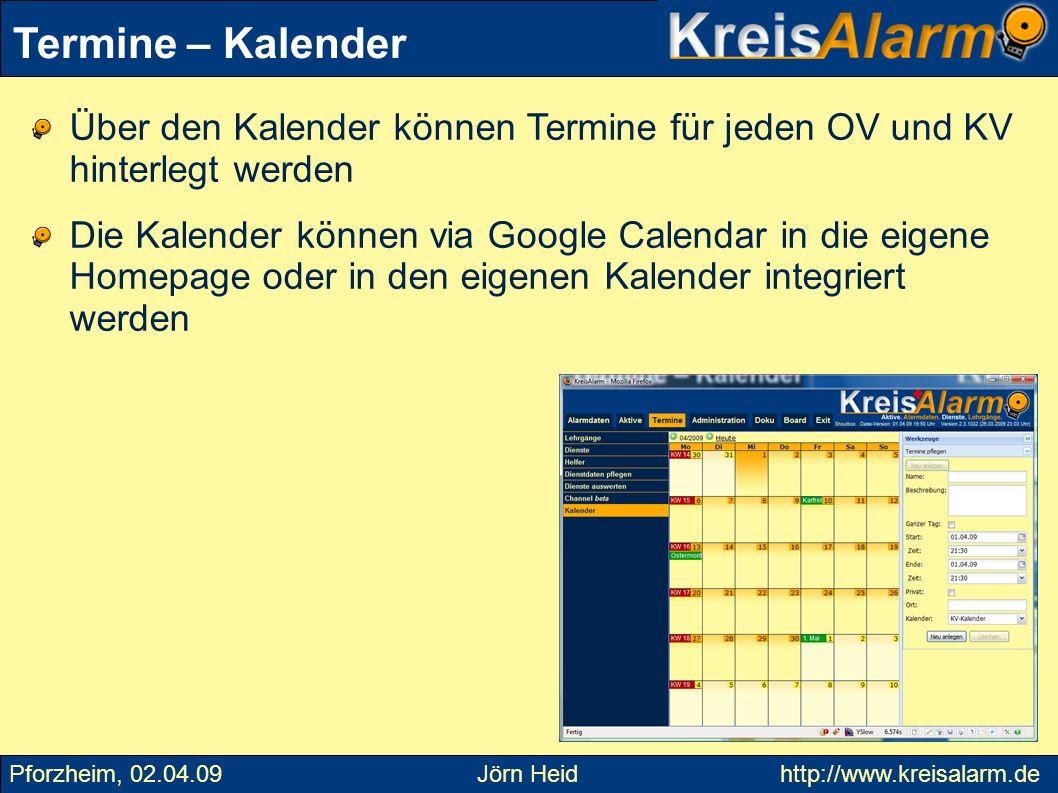 Termine – Kalender Über den Kalender können Termine für jeden OV und KV hinterlegt werden.