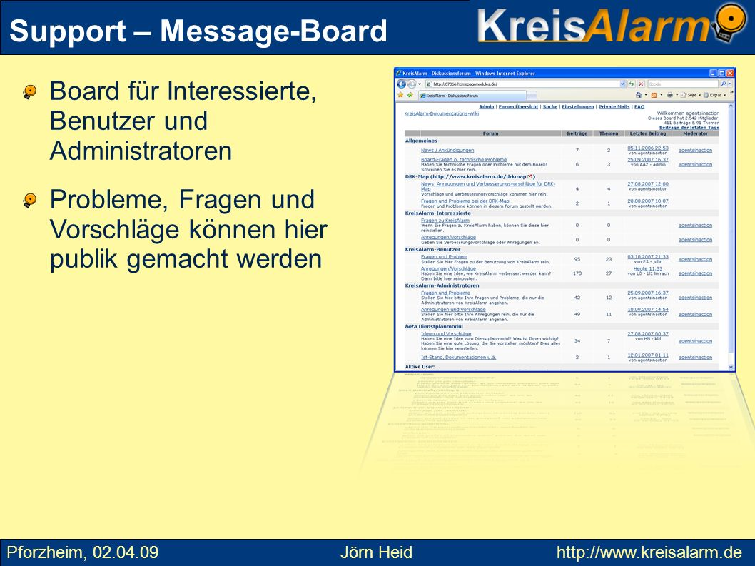 Support – Message-Board