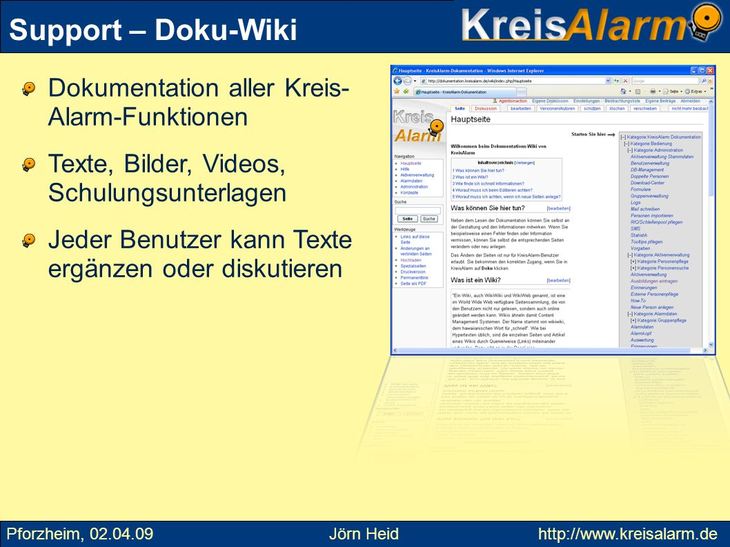 Support – Doku-Wiki Dokumentation aller Kreis- Alarm-Funktionen