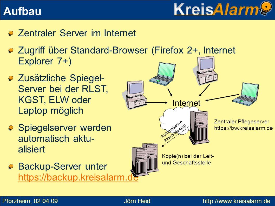 Aufbau Zentraler Server im Internet
