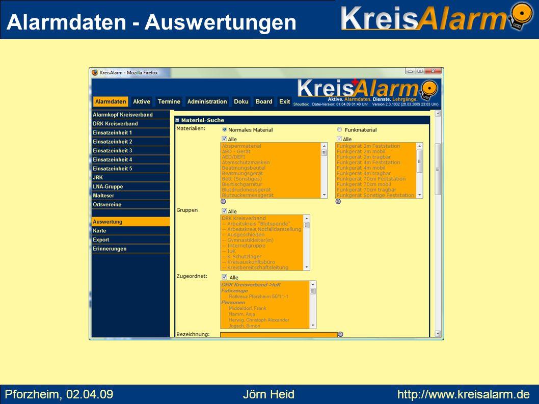Alarmdaten - Auswertungen