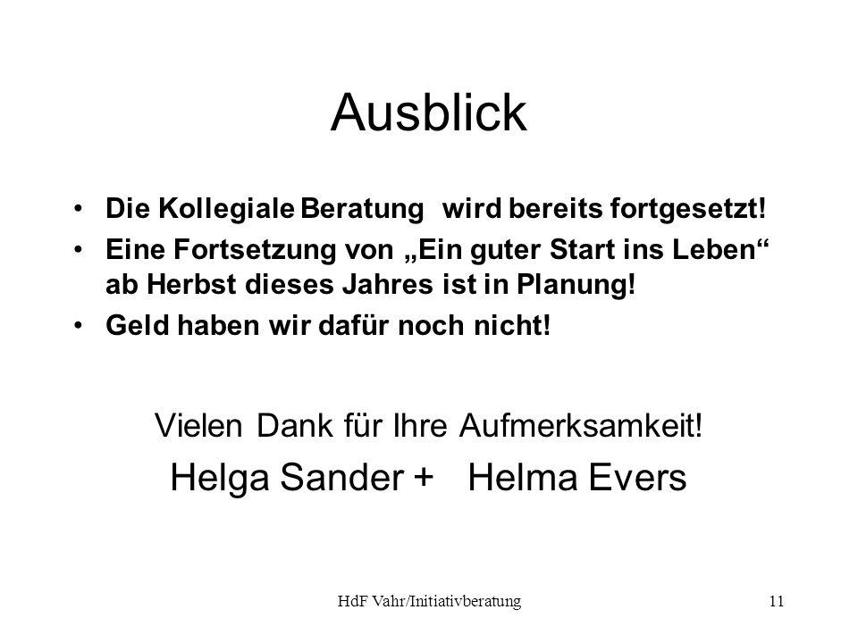 Ausblick Helga Sander + Helma Evers