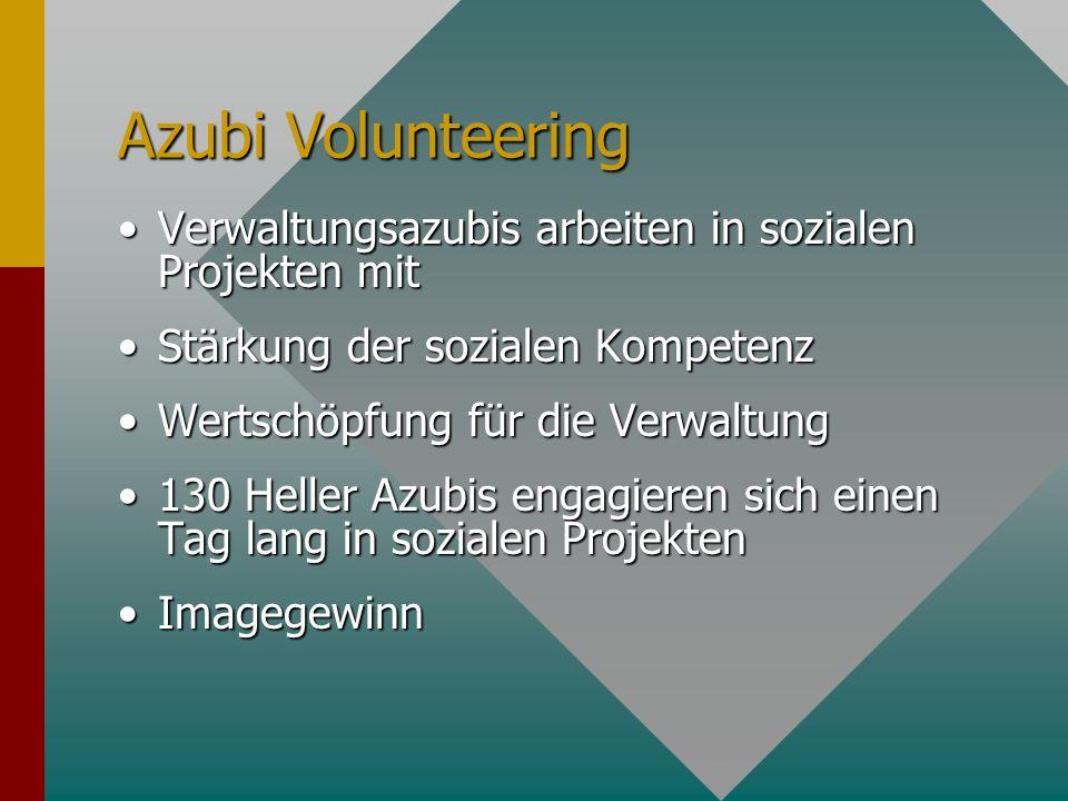 Azubi Volunteering Verwaltungsazubis arbeiten in sozialen Projekten mit. Stärkung der sozialen Kompetenz.