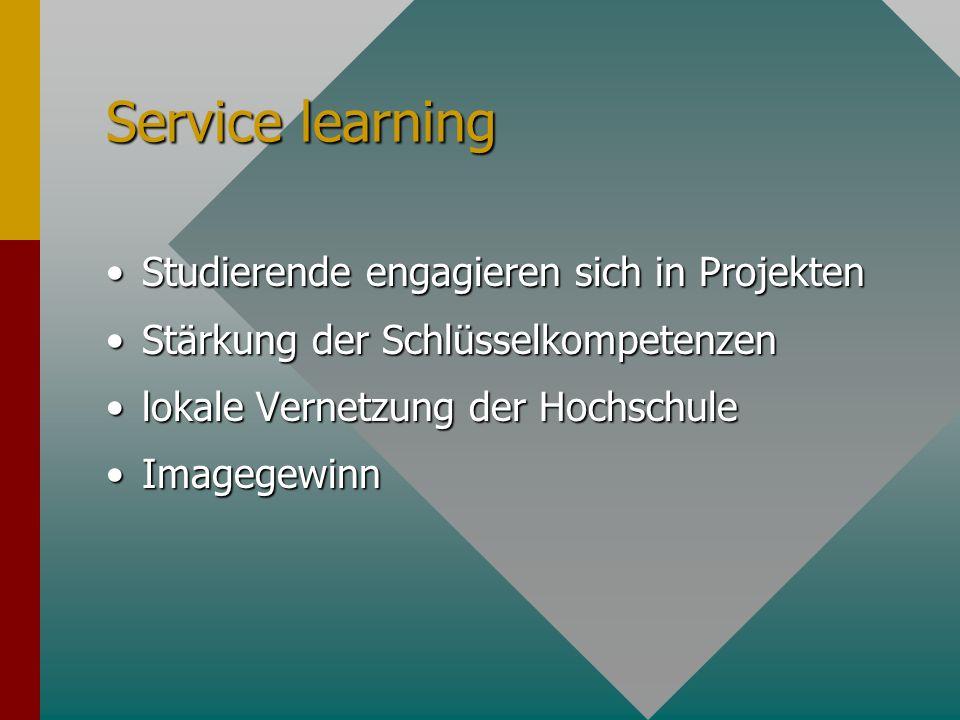 Service learning Studierende engagieren sich in Projekten