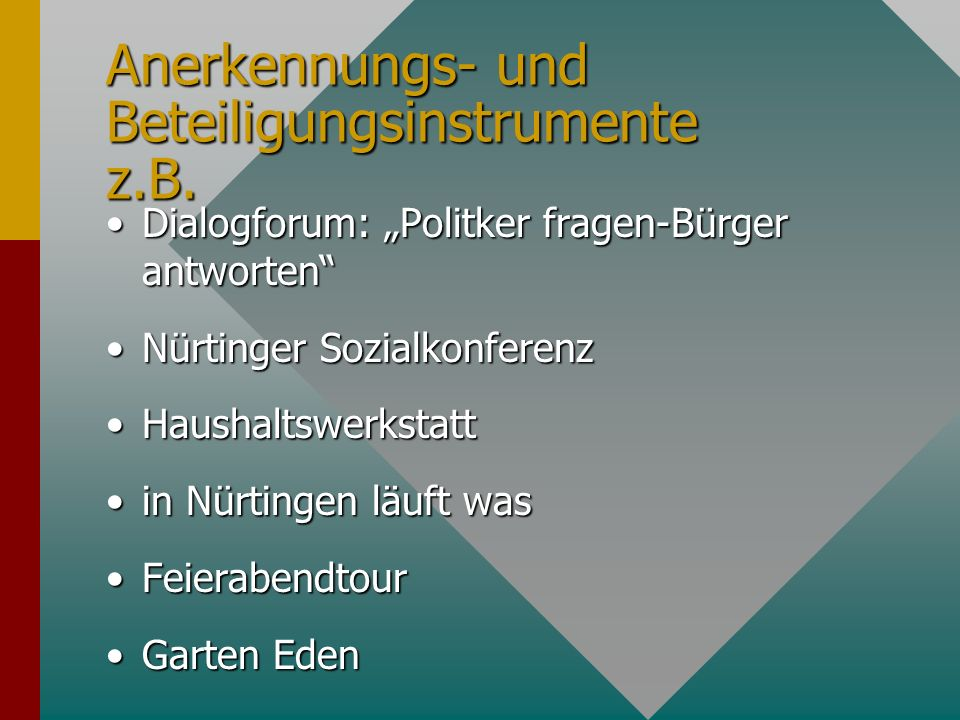 Anerkennungs- und Beteiligungsinstrumente z.B.