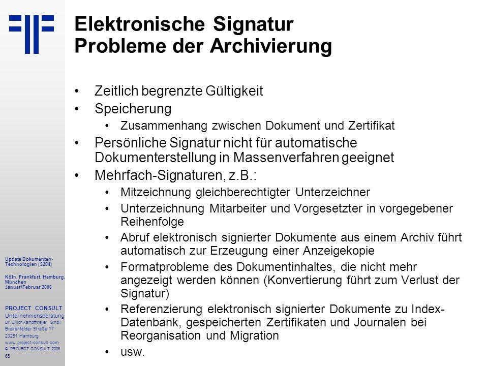 Elektronische Signatur Probleme der Archivierung