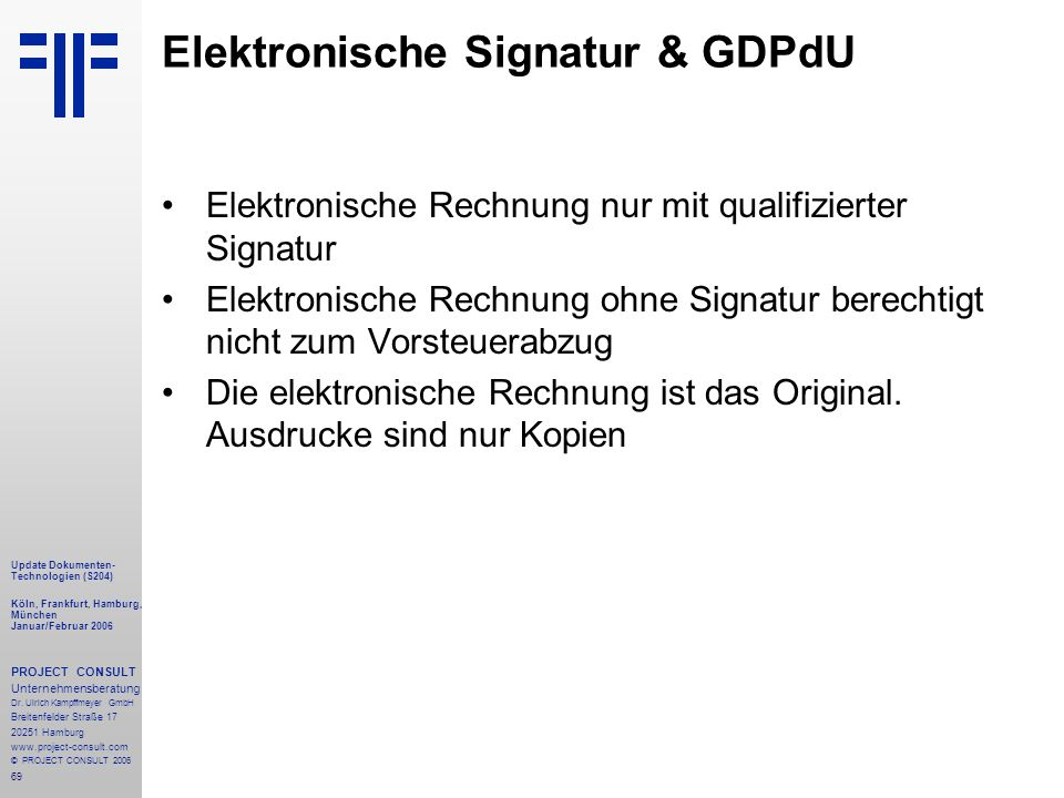 Elektronische Signatur & GDPdU