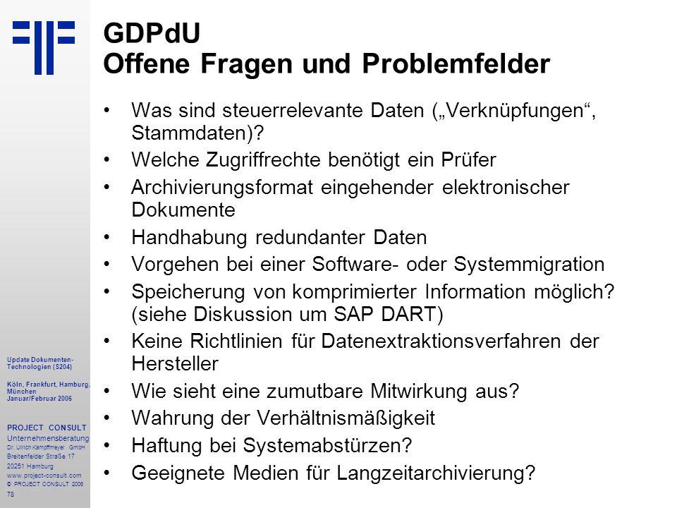 GDPdU Offene Fragen und Problemfelder