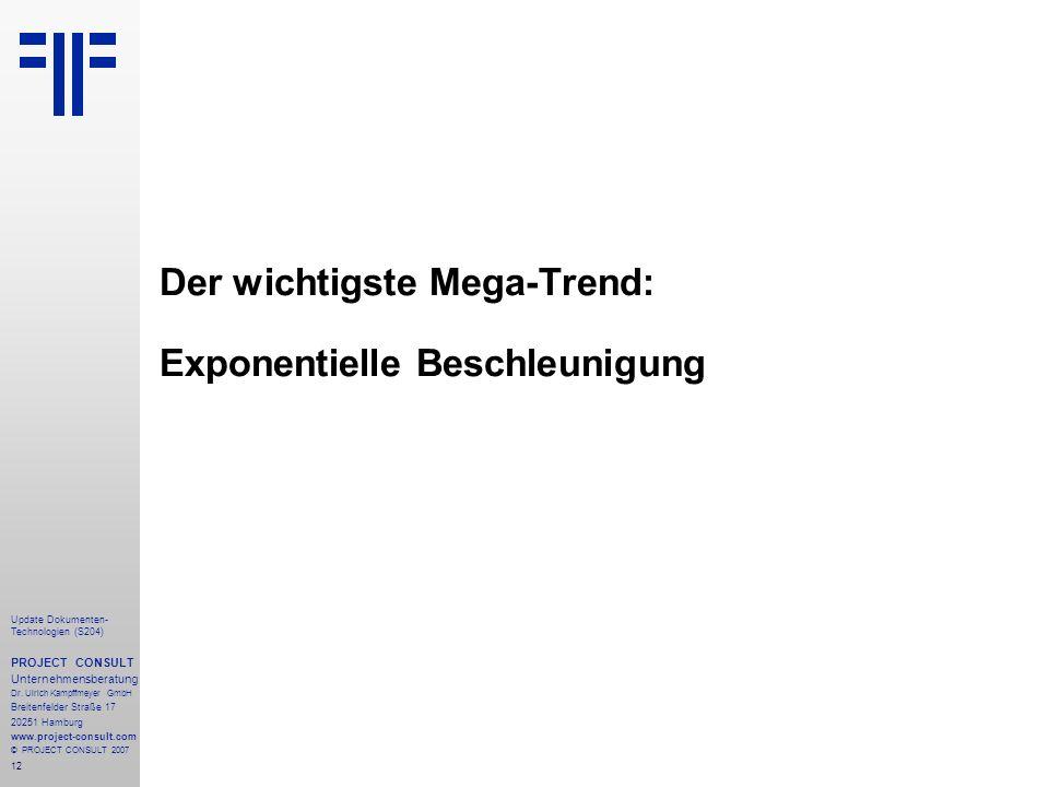 Der wichtigste Mega-Trend: Exponentielle Beschleunigung
