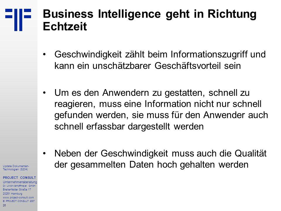 Business Intelligence geht in Richtung Echtzeit