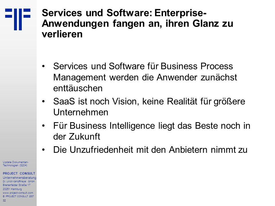 Services und Software: Enterprise-Anwendungen fangen an, ihren Glanz zu verlieren