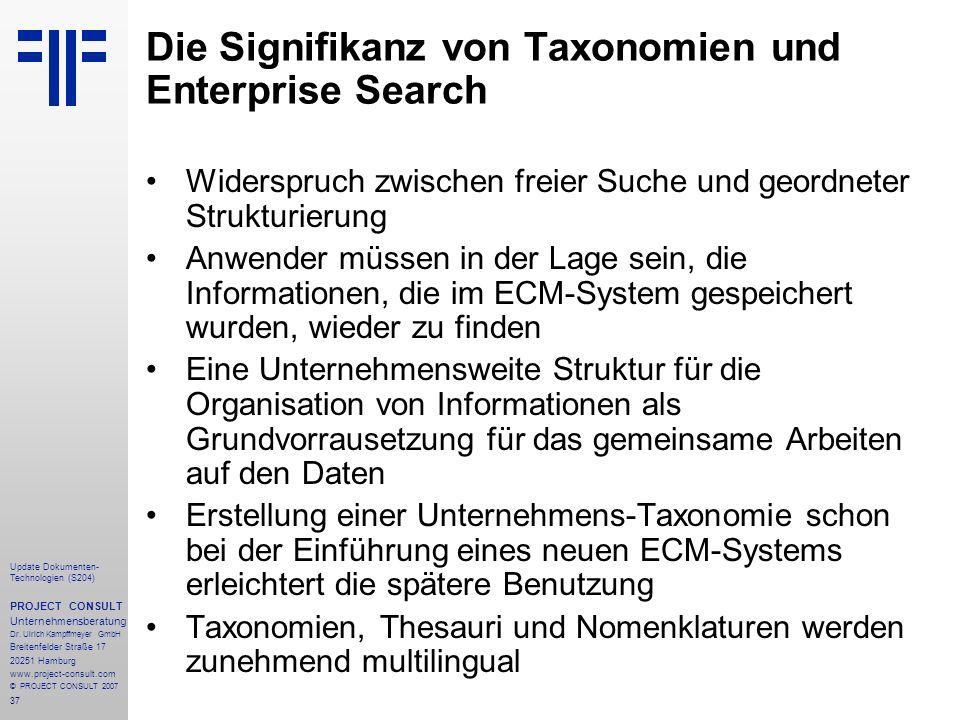 Die Signifikanz von Taxonomien und Enterprise Search
