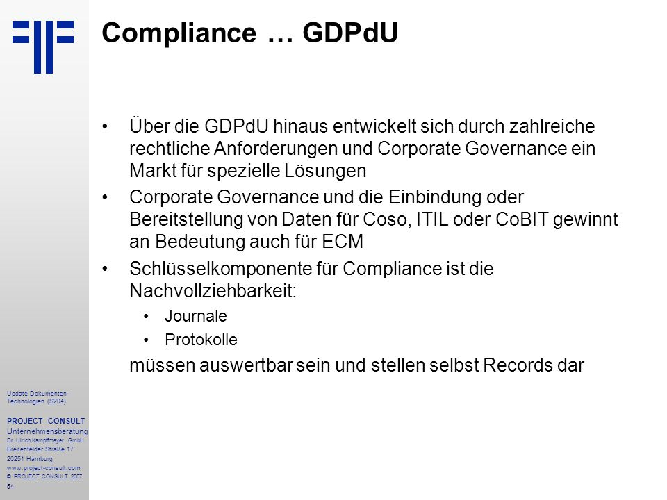Compliance … GDPdU