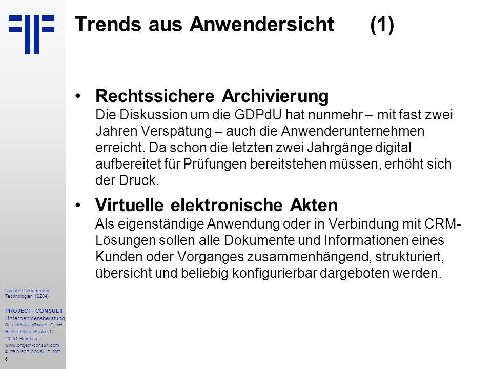 Trends aus Anwendersicht (1)