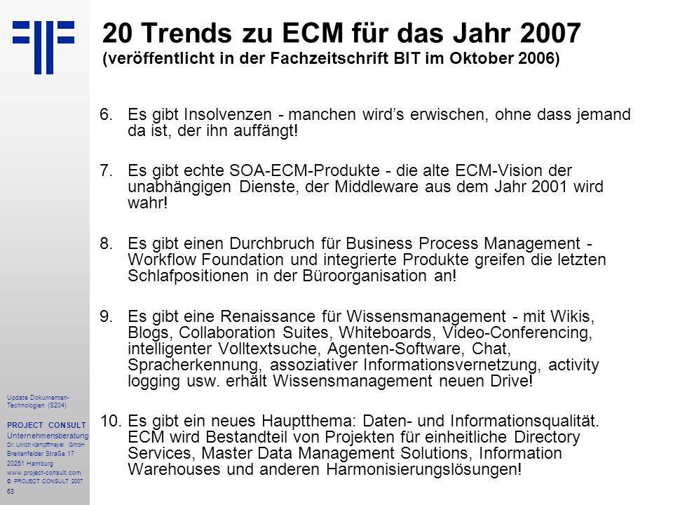 20 Trends zu ECM für das Jahr 2007 (veröffentlicht in der Fachzeitschrift BIT im Oktober 2006)