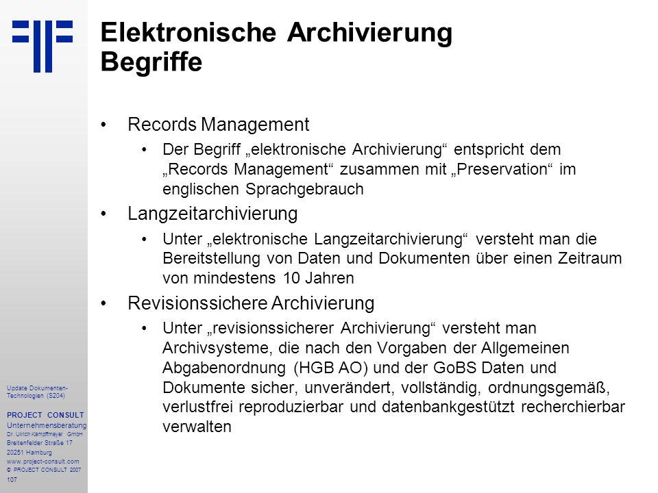 Elektronische Archivierung Begriffe