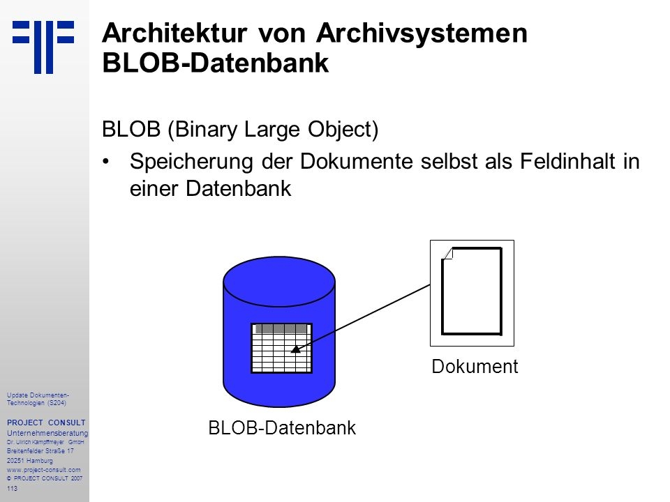 Architektur von Archivsystemen BLOB-Datenbank