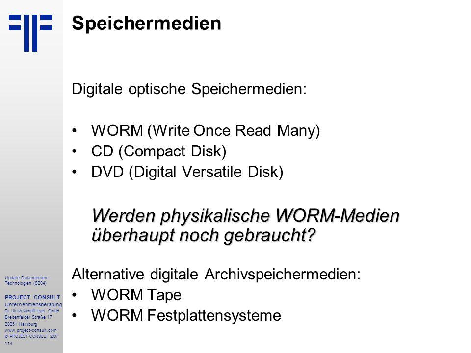 Speichermedien Digitale optische Speichermedien:
