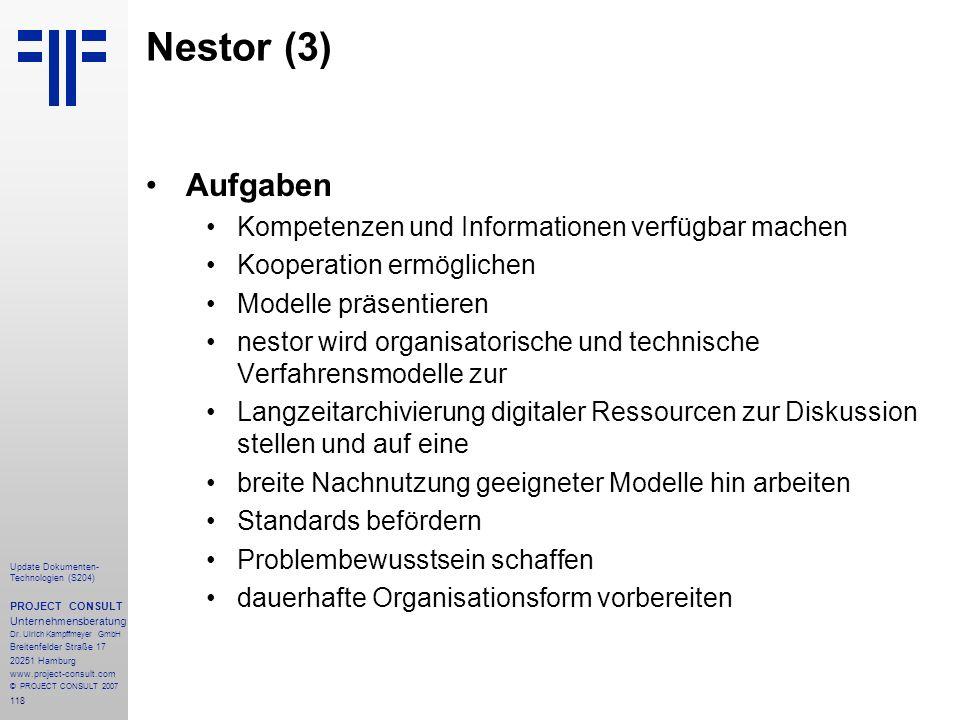 Nestor (3) Aufgaben Kompetenzen und Informationen verfügbar machen
