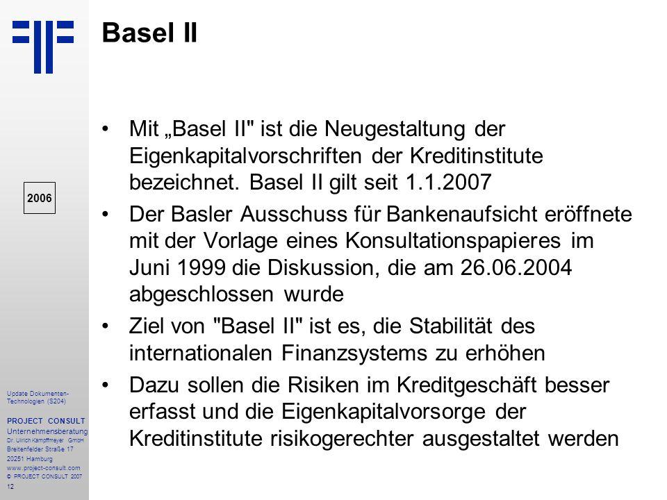 """Basel II Mit """"Basel II ist die Neugestaltung der Eigenkapitalvorschriften der Kreditinstitute bezeichnet. Basel II gilt seit 1.1.2007."""