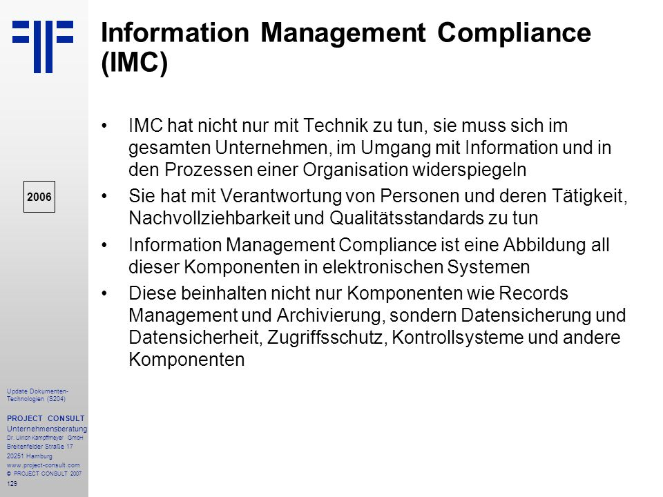 Information Management Compliance (IMC)