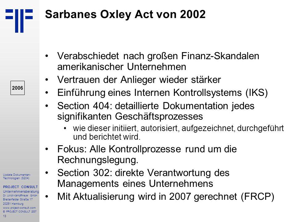 Sarbanes Oxley Act von 2002 Verabschiedet nach großen Finanz-Skandalen amerikanischer Unternehmen. Vertrauen der Anlieger wieder stärker.