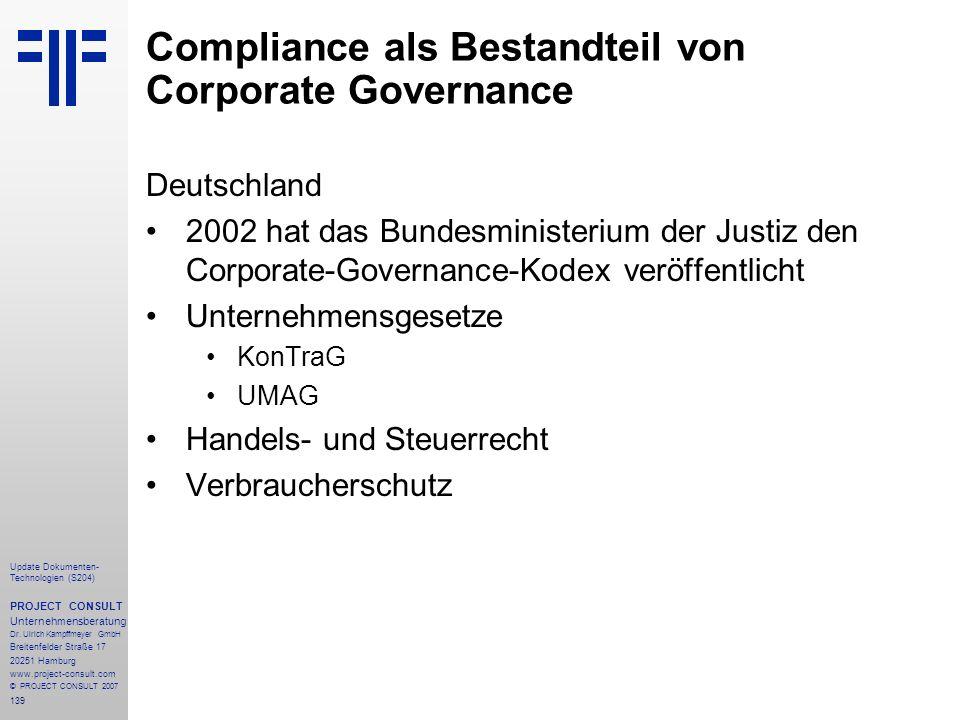 Compliance als Bestandteil von Corporate Governance