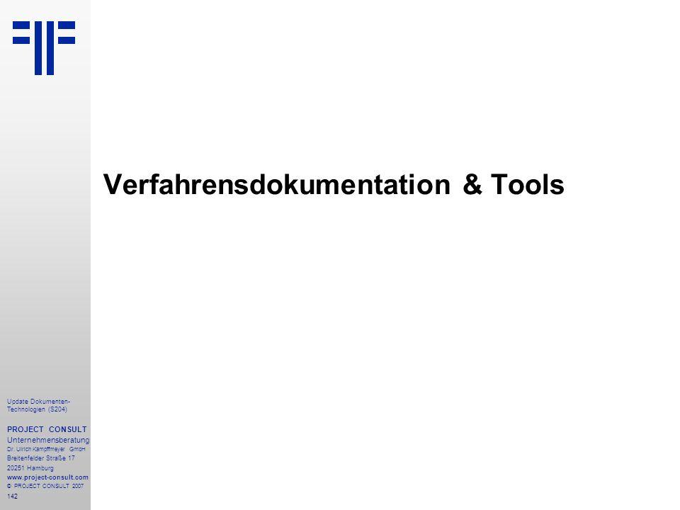 Verfahrensdokumentation & Tools