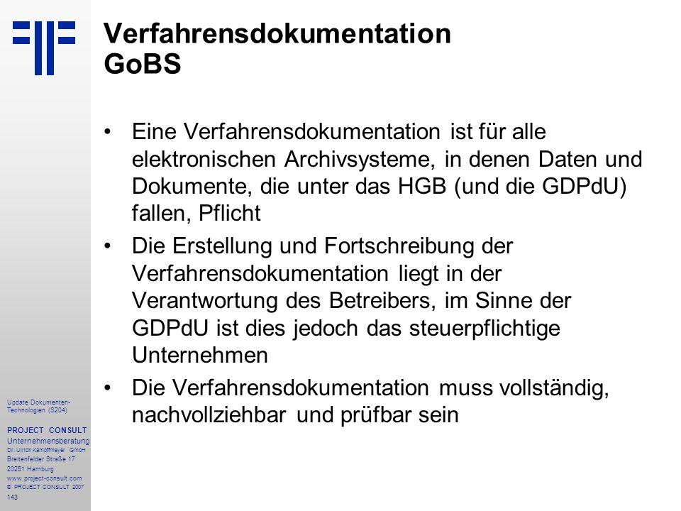 Verfahrensdokumentation GoBS
