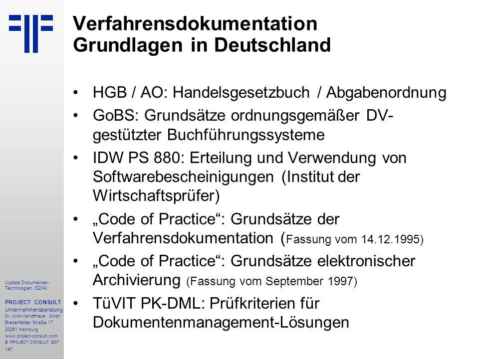 Verfahrensdokumentation Grundlagen in Deutschland