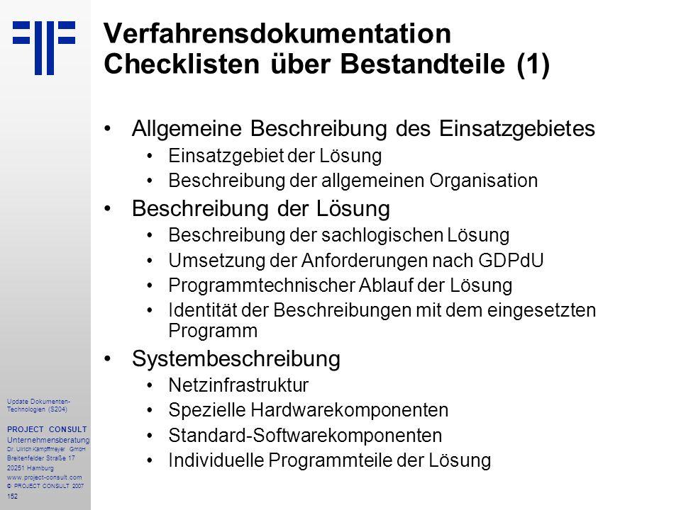 Verfahrensdokumentation Checklisten über Bestandteile (1)