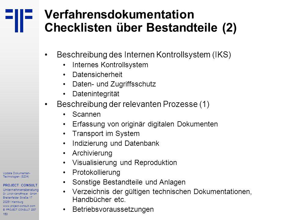 Verfahrensdokumentation Checklisten über Bestandteile (2)
